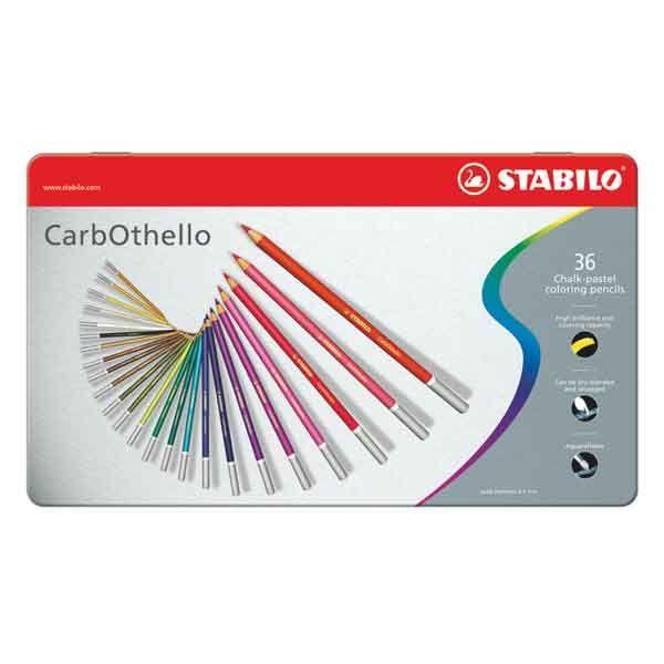 BOITE METAL 36 CRAYONS PASTEL STABILO CARBOTHELLO