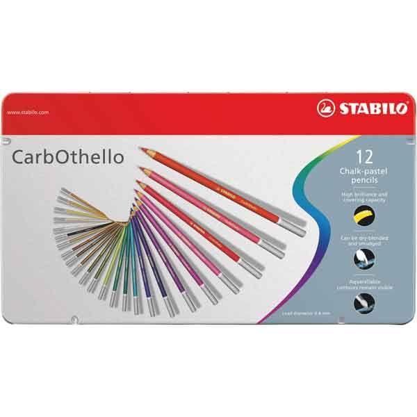 BOITE METAL 12 CRAYONS PASTEL STABILO CARBOTHELLO