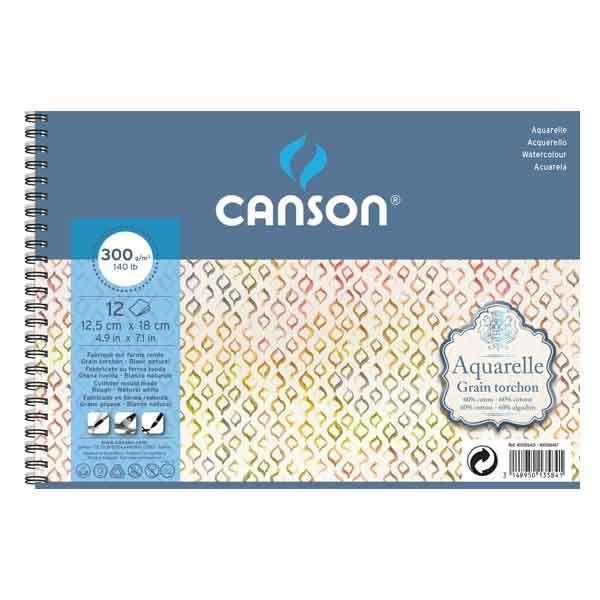 CANSON AQUARELLE ALBUM SPIRALE 12 FEUILLES 300 G GRAIN TORCHON