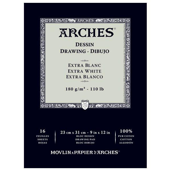 16 FEUILLES 180G ARCHES DESSIN EXTRA BLANC