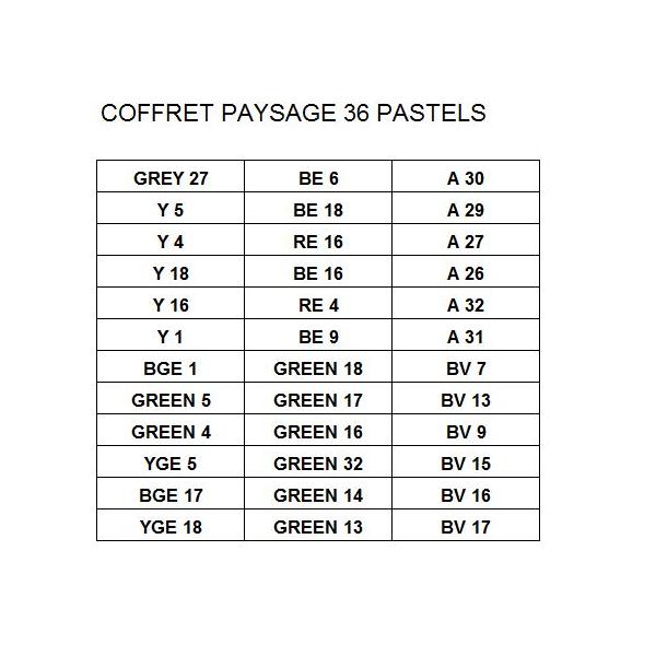COFFRETS PASTELS SECS EXTRA FINS SET 36 PASTELS  PAYSAGE