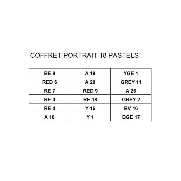 COFFRETS PASTELS SECS EXTRA FINS SET 18 PASTELS  PORTRAIT