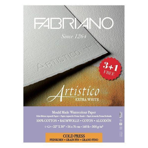 ARTISTICO POCHETTE 3 FEUILLES + 1 OFFERTE 56 X 76 300G GRAIN FIN EXTRA WHITE