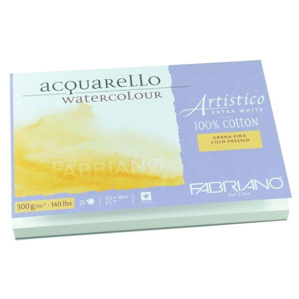 ARTISTICO BLOC EXTRAWHITE COLLE 4 COTES 25 FEUILLES 300 G GRAIN FIN