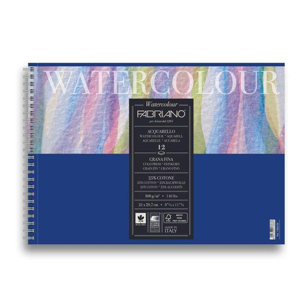 WATERCOLOUR  BLOC SPIRALE 12 FEUILLES 300 G GRAIN FIN