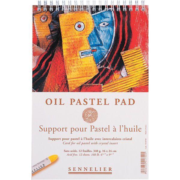 OIL PASTEL PAD ALBUM SPIRALE 12 FEUILLES 340G BLANC