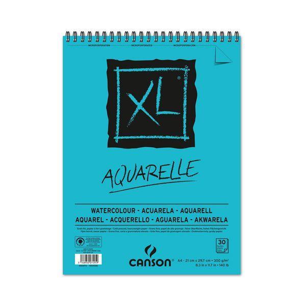 XL AQUARELLE ALBUM SPIRALE 30 FEUILLES 300G GRAIN FIN BLANC