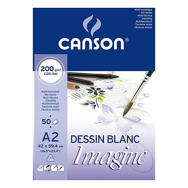 IMAGINE BLOC COLLE 1 COTE 50 FEUILLES 200 G BLANC