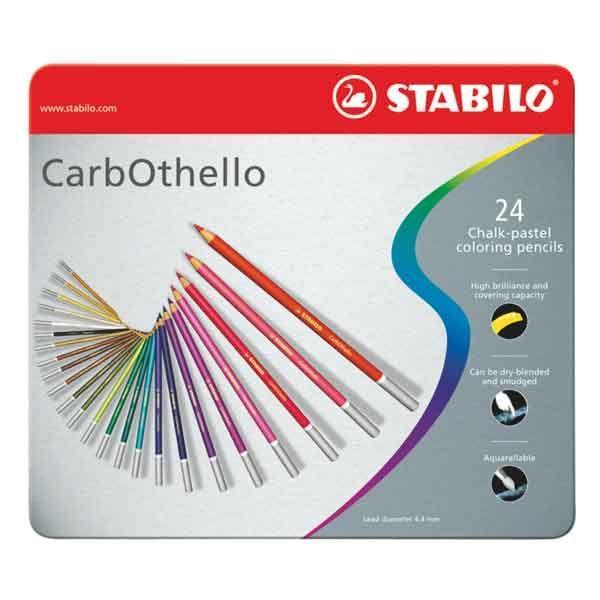 BOITE METAL 24 CRAYONS PASTEL STABILO CARBOTHELLO