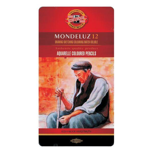 COFFRET METAL 12 CRAYONS AQUARELLE MONDELUZ