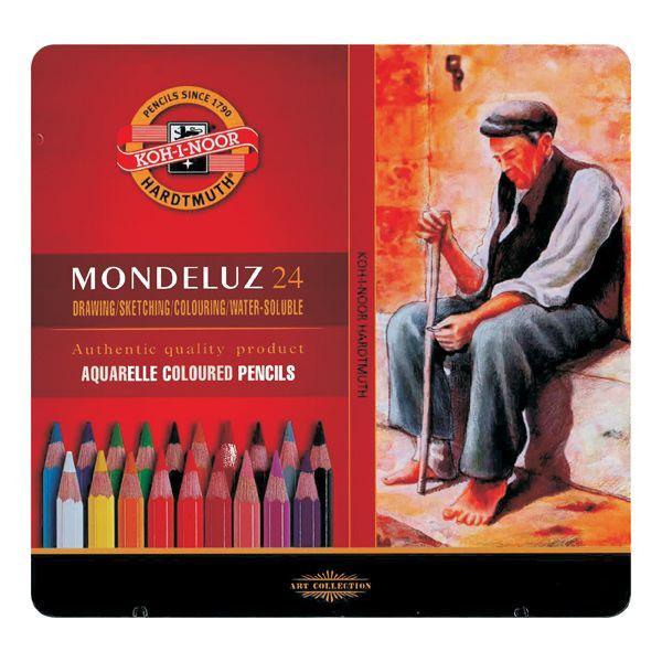 COFFRET METAL 24 CRAYONS AQUARELLE MONDELUZ