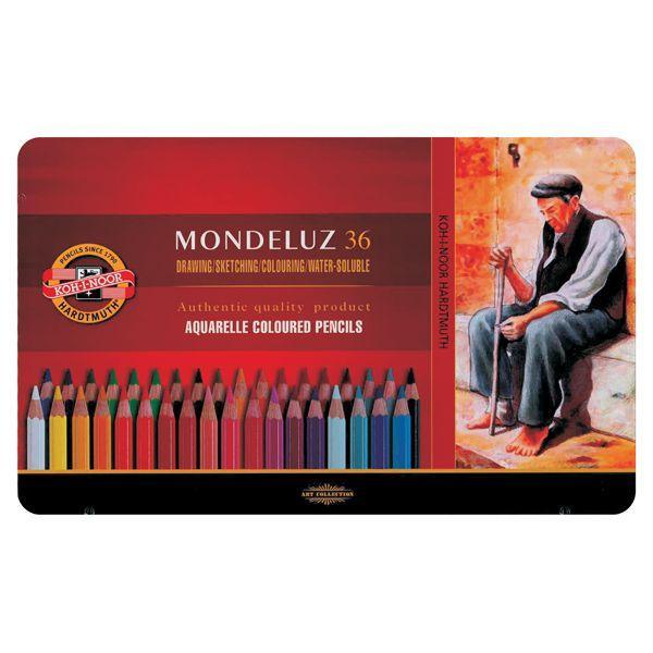 COFFRET METAL 36 CRAYONS AQUARELLE MONDELUZ