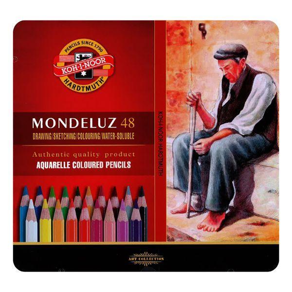COFFRET METAL 48 CRAYONS AQUARELLE MONDELUZ
